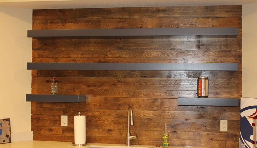 Finished wood panneling