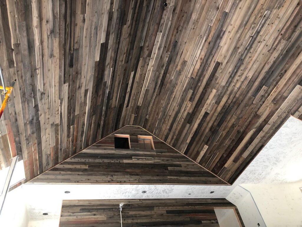 Check out this beautiful project! This made use of our 1x6 Cedar T&G Centermatch and was stained with our Jasperwood stain Mountain Mist!